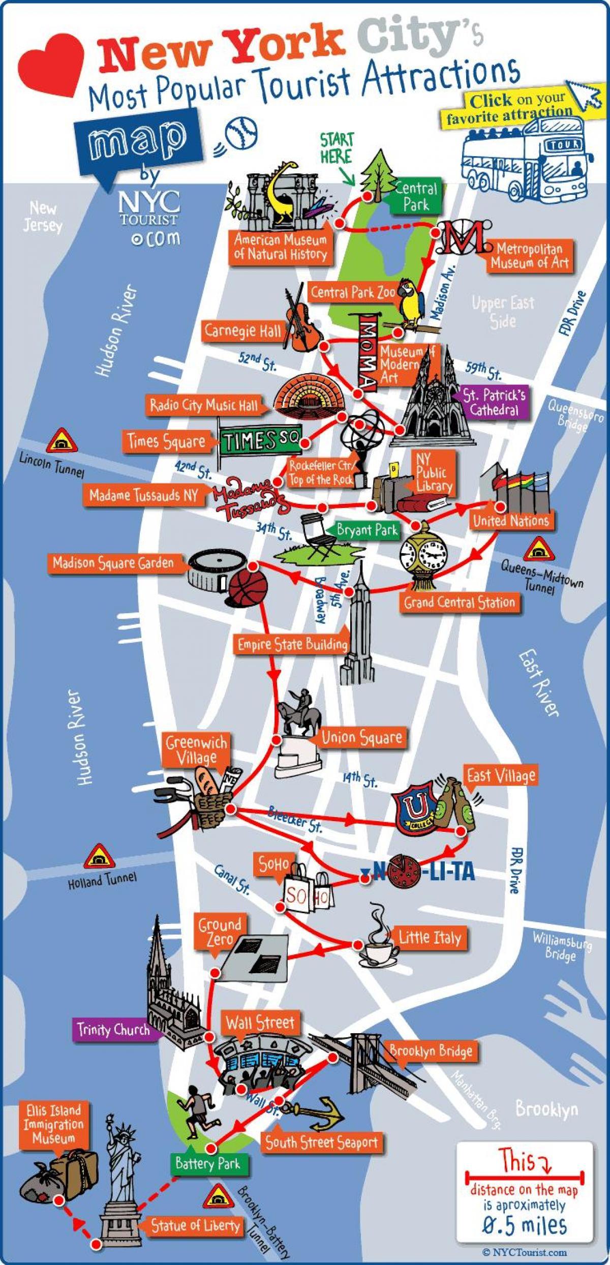 Visite De La Ville New York Carte
